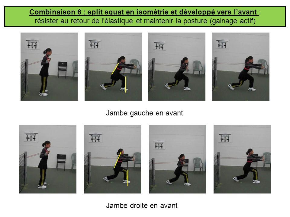 Combinaison 6 : split squat en isométrie et développé vers l'avant :