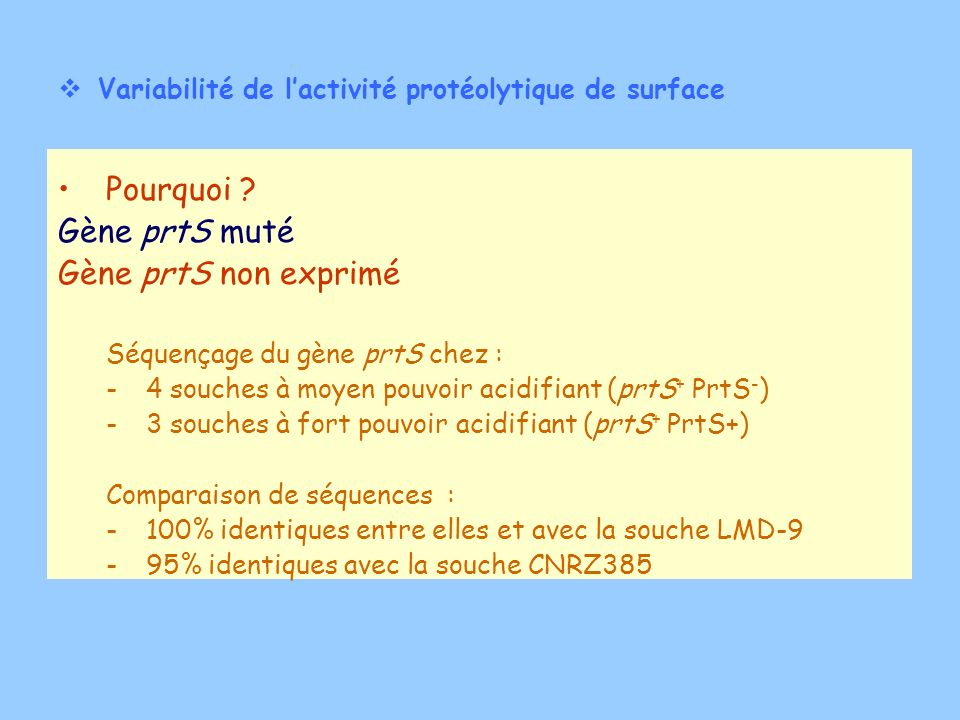 Variabilité de l'activité protéolytique de surface