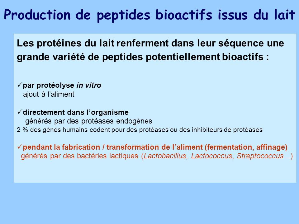 Production de peptides bioactifs issus du lait