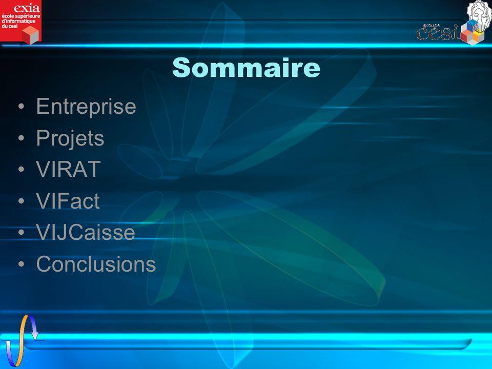Sommaire Entreprise Projets VIRAT VIFact VIJCaisse Conclusions