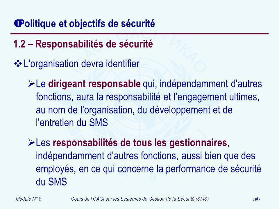 Politique et objectifs de sécurité