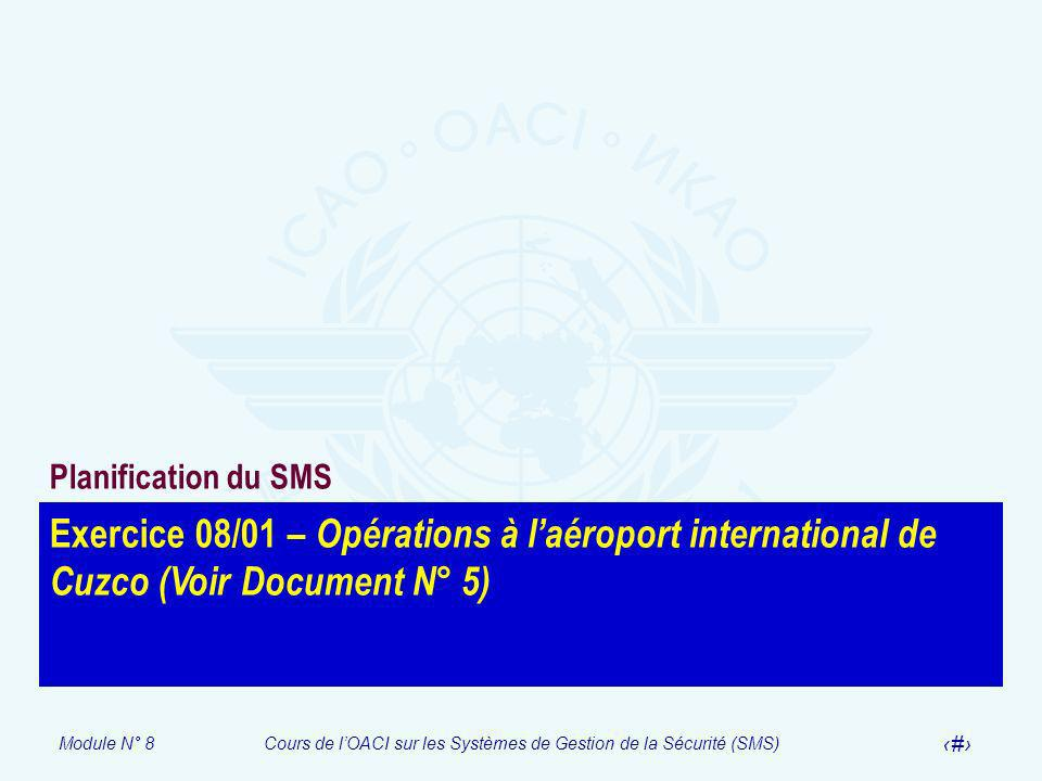 Planification du SMS Exercice 08/01 – Opérations à l'aéroport international de Cuzco (Voir Document N° 5)