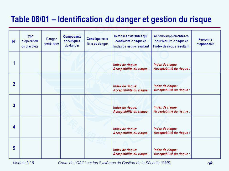 Table 08/01 – Identification du danger et gestion du risque