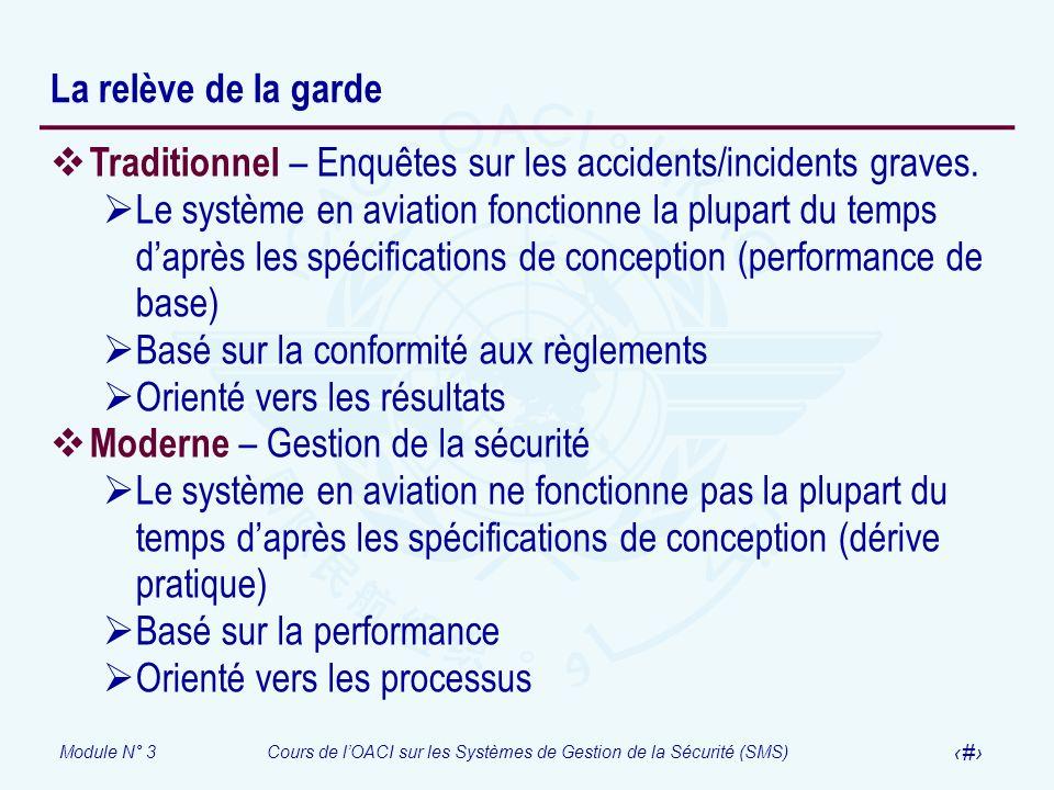 La relève de la gardeTraditionnel – Enquêtes sur les accidents/incidents graves.