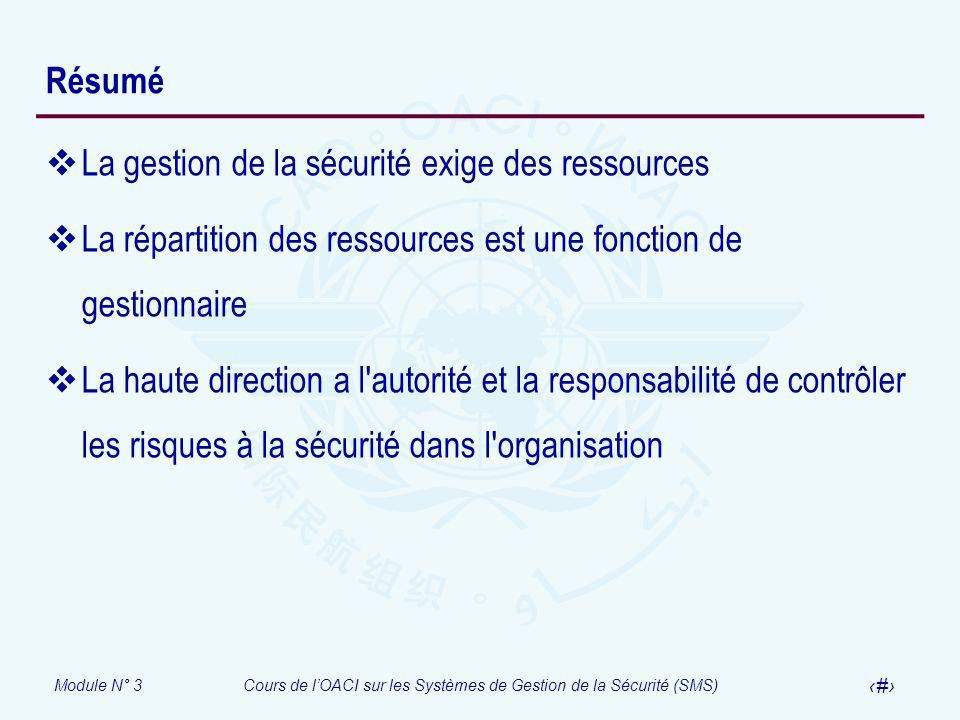 Résumé La gestion de la sécurité exige des ressources. La répartition des ressources est une fonction de gestionnaire.