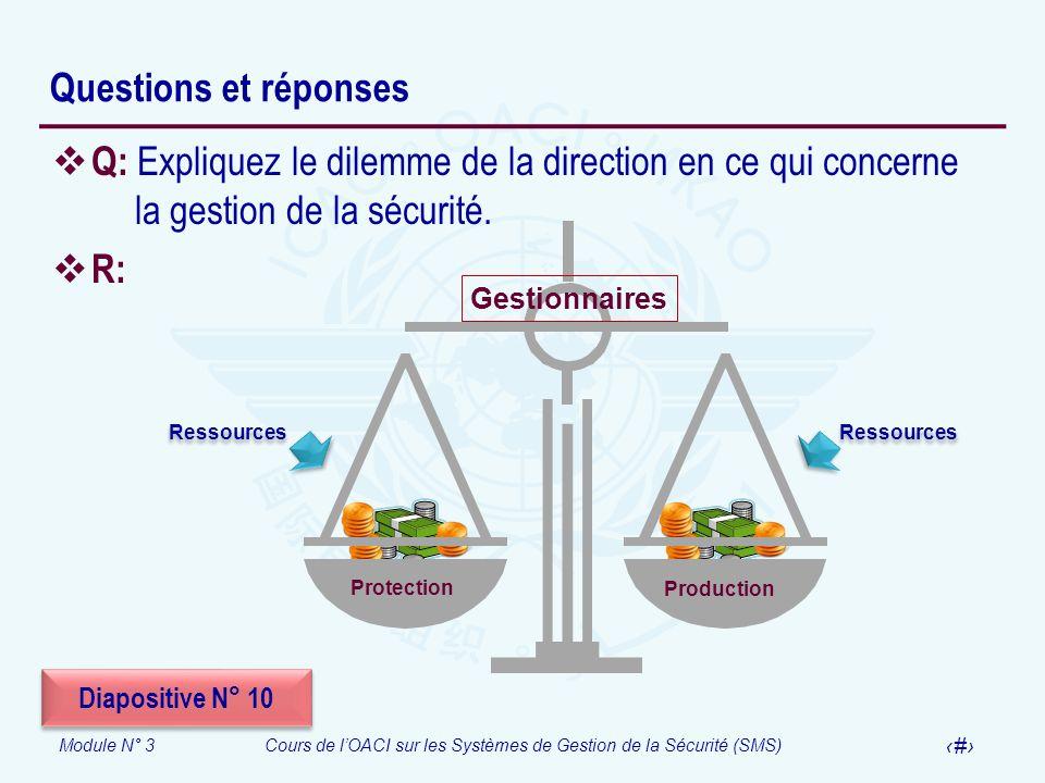 Questions et réponsesQ: Expliquez le dilemme de la direction en ce qui concerne la gestion de la sécurité.