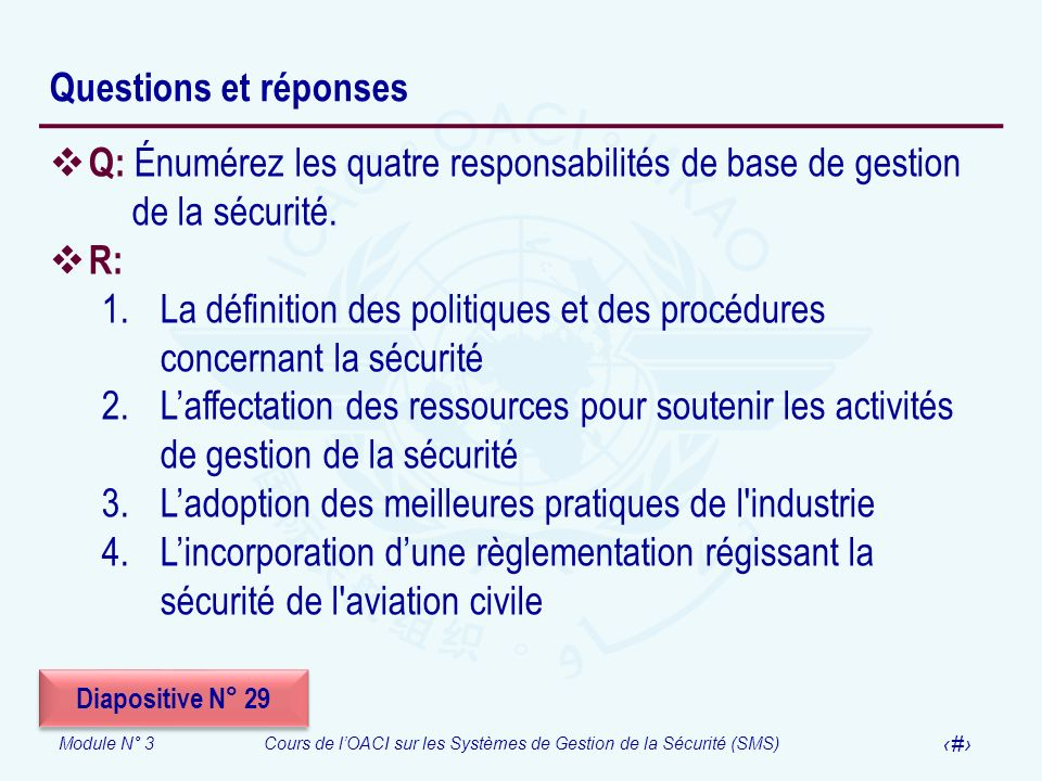 La définition des politiques et des procédures concernant la sécurité