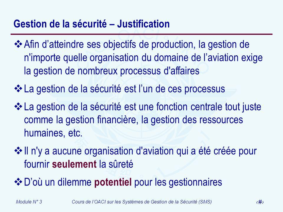 Gestion de la sécurité – Justification