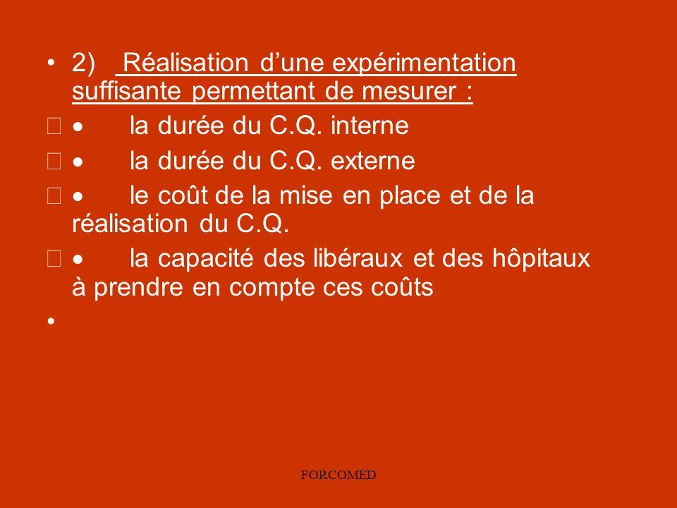 · le coût de la mise en place et de la réalisation du C.Q.