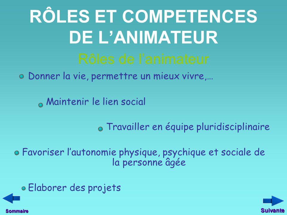 RÔLES ET COMPETENCES DE L'ANIMATEUR