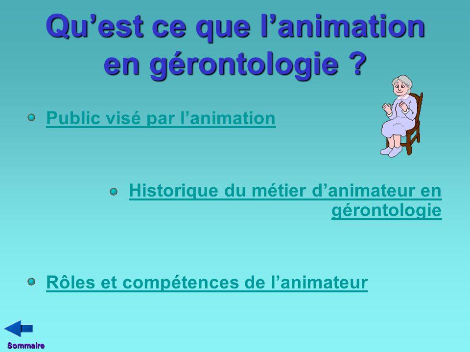 Qu'est ce que l'animation en gérontologie