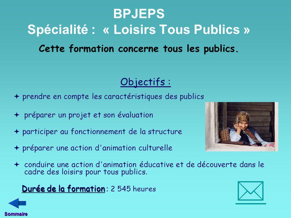 BPJEPS Spécialité : « Loisirs Tous Publics » Cette formation concerne tous les publics.