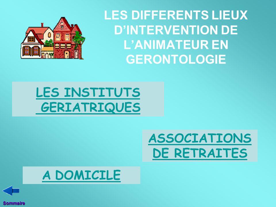 LES DIFFERENTS LIEUX D'INTERVENTION DE L'ANIMATEUR EN GERONTOLOGIE