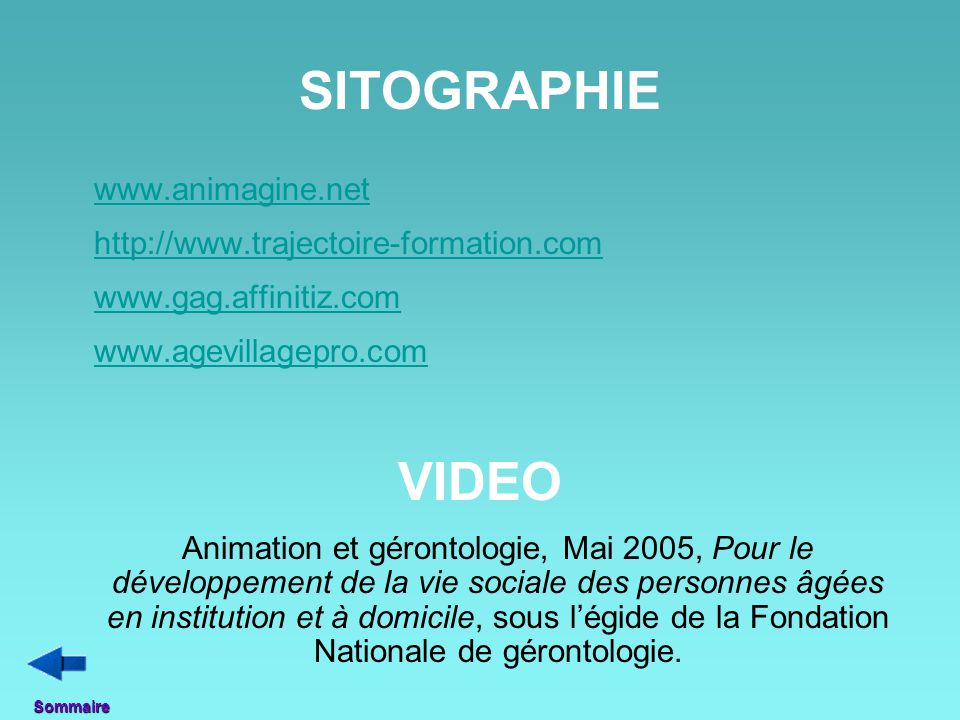 SITOGRAPHIE VIDEO http://www.trajectoire-formation.com
