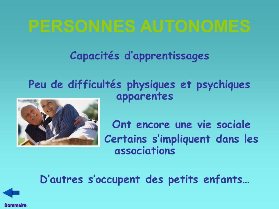 PERSONNES AUTONOMES Capacités d'apprentissages