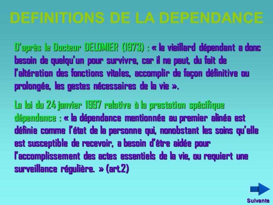 DEFINITIONS DE LA DEPENDANCE