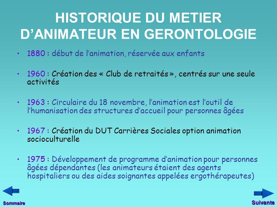 HISTORIQUE DU METIER D'ANIMATEUR EN GERONTOLOGIE