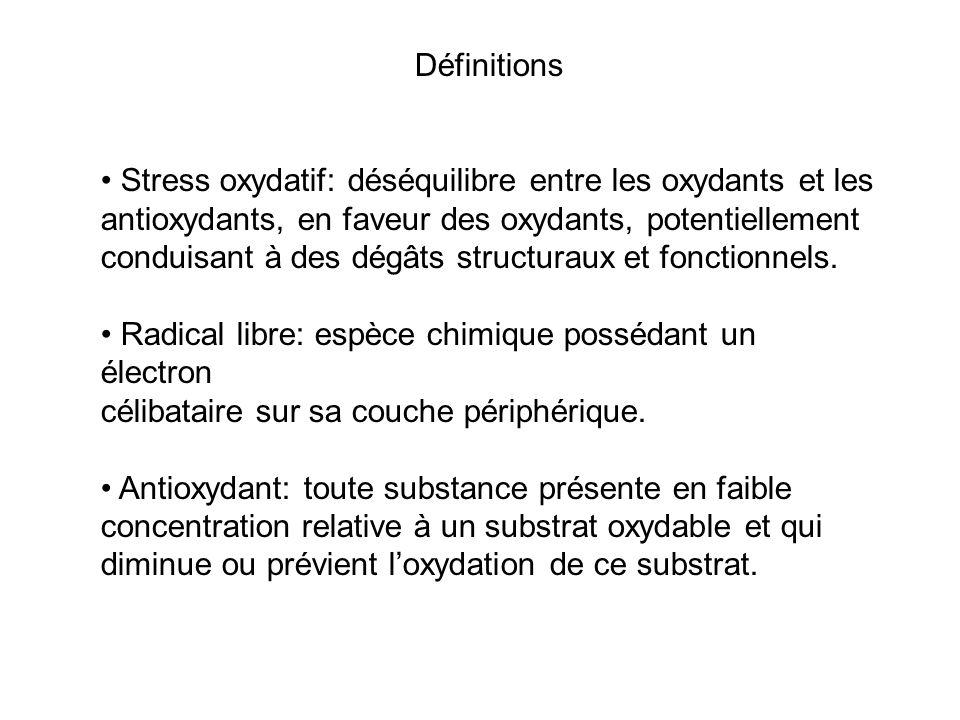 Définitions • Stress oxydatif: déséquilibre entre les oxydants et les. antioxydants, en faveur des oxydants, potentiellement.