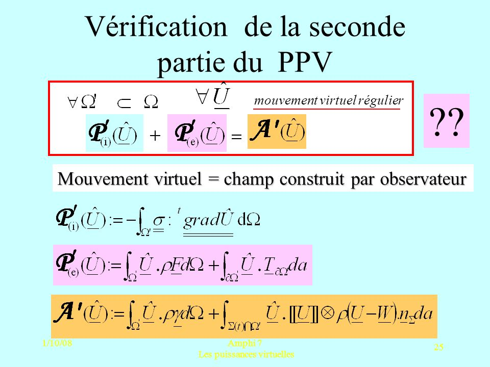 Vérification de la seconde partie du PPV