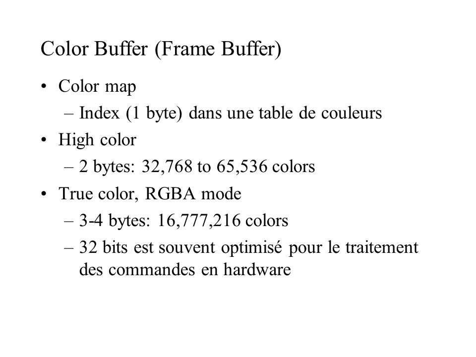 Color Buffer (Frame Buffer)‏