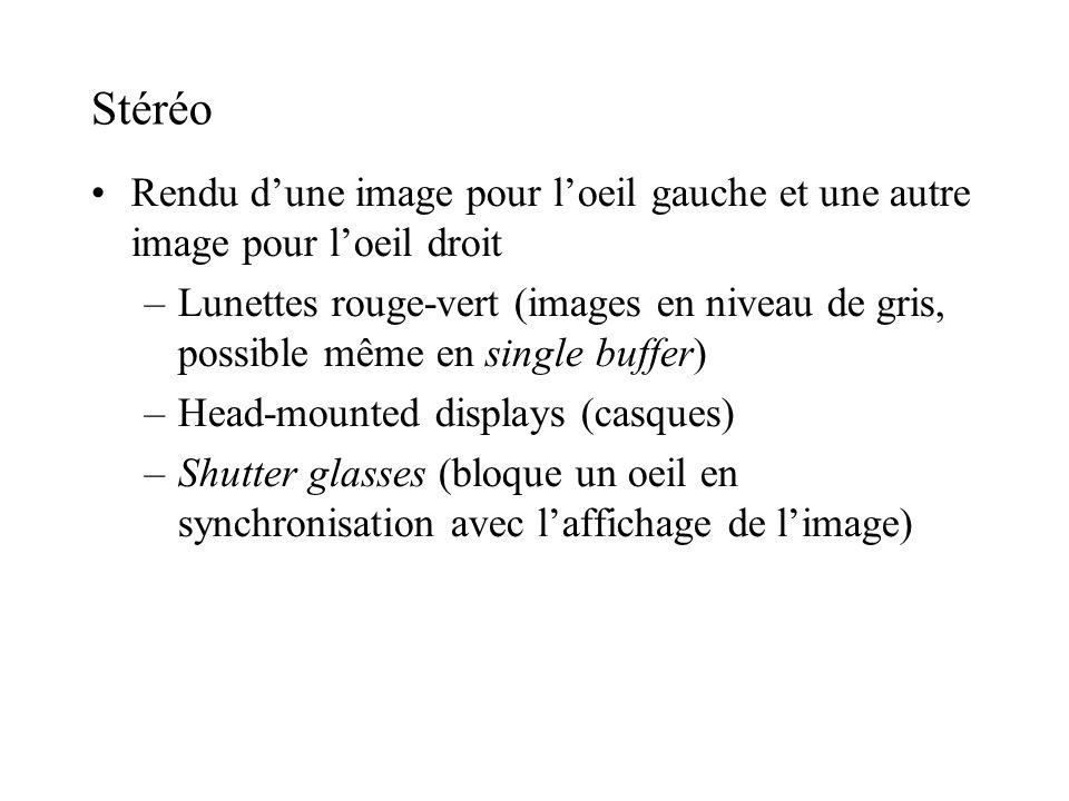 Stéréo Rendu d'une image pour l'oeil gauche et une autre image pour l'oeil droit.