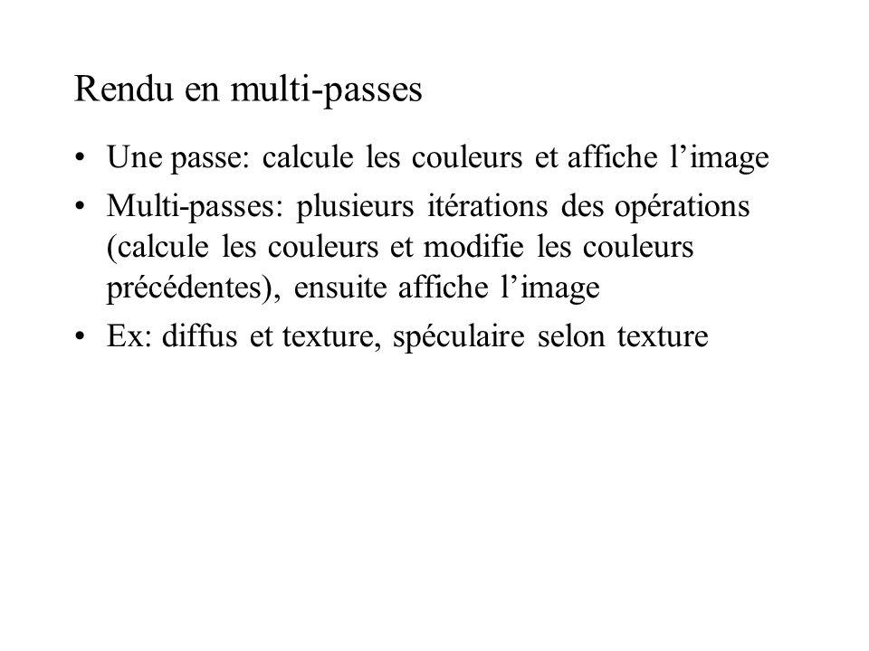 Rendu en multi-passes Une passe: calcule les couleurs et affiche l'image.