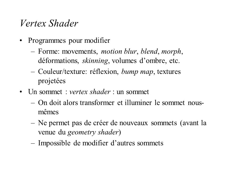 Vertex Shader Programmes pour modifier