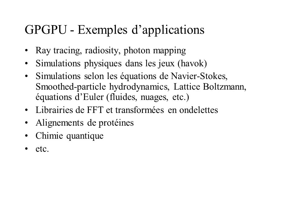 GPGPU - Exemples d'applications