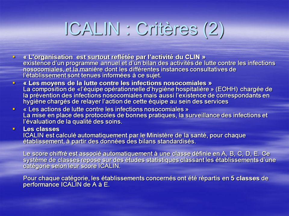 ICALIN : Critères (2)