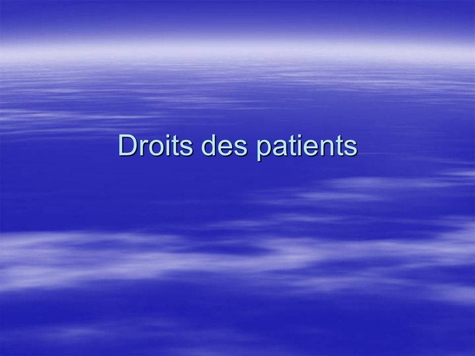 Droits des patients