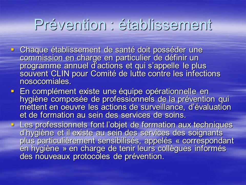 Prévention : établissement