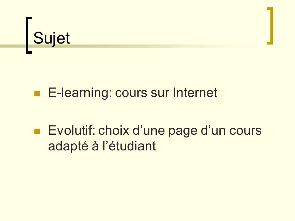Sujet E-learning: cours sur Internet