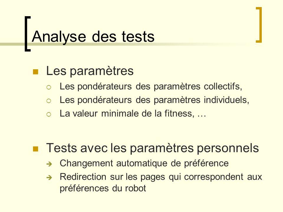 Analyse des tests Les paramètres Tests avec les paramètres personnels