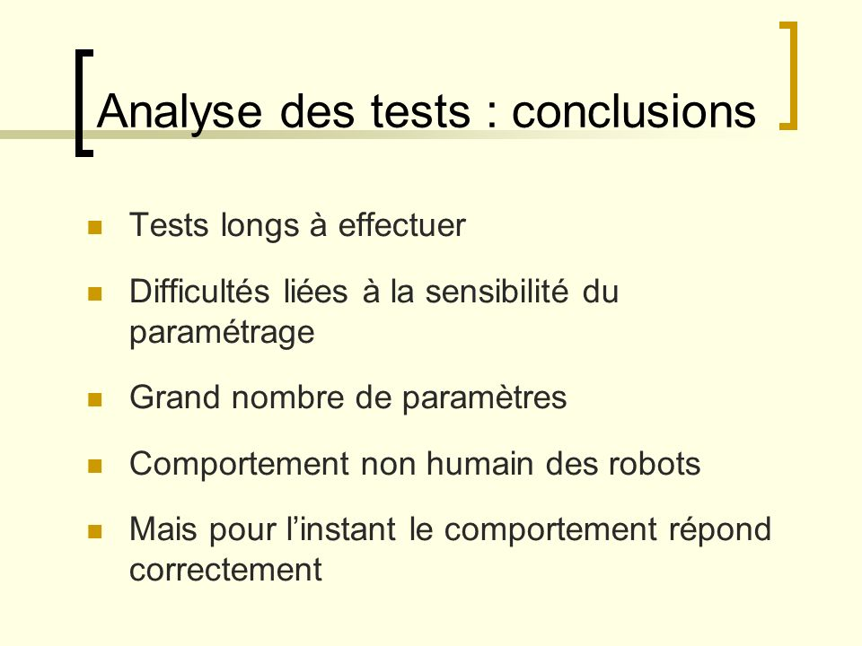 Analyse des tests : conclusions