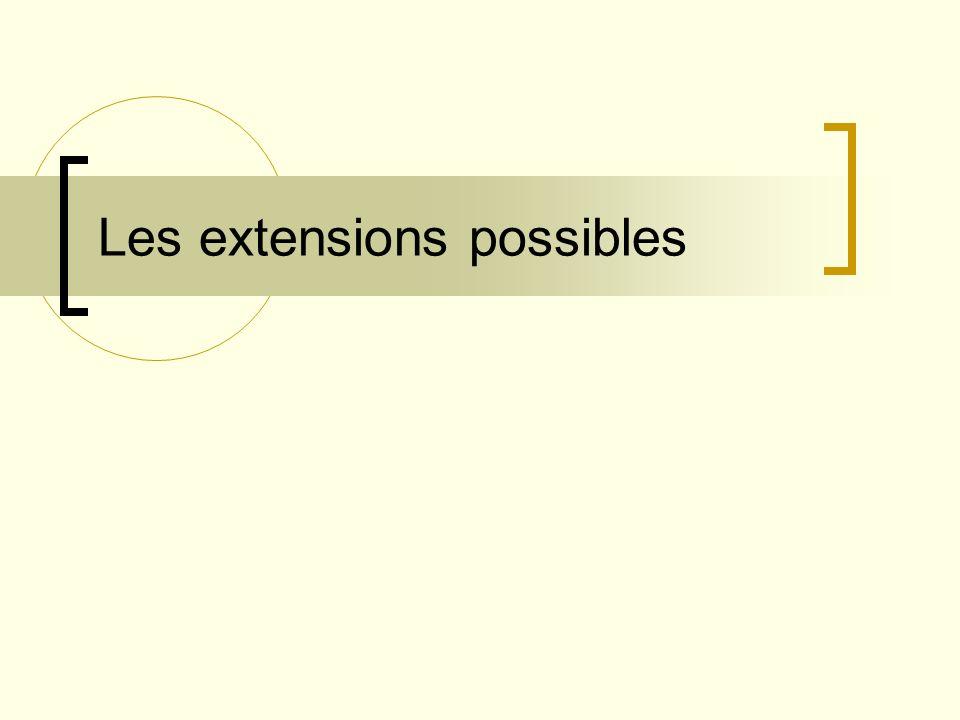 Les extensions possibles