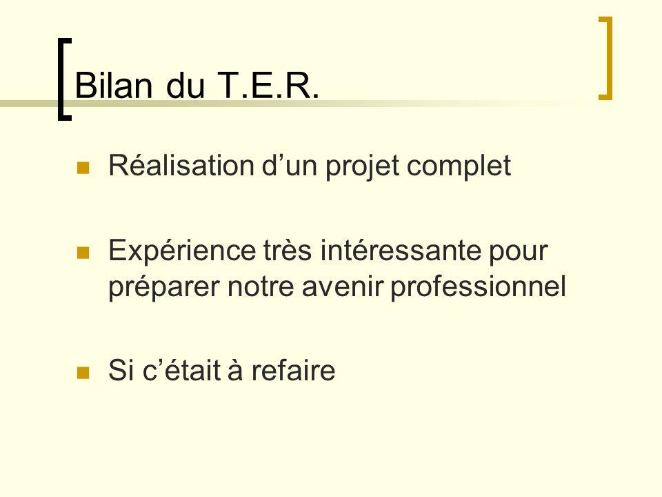 Bilan du T.E.R. Réalisation d'un projet complet