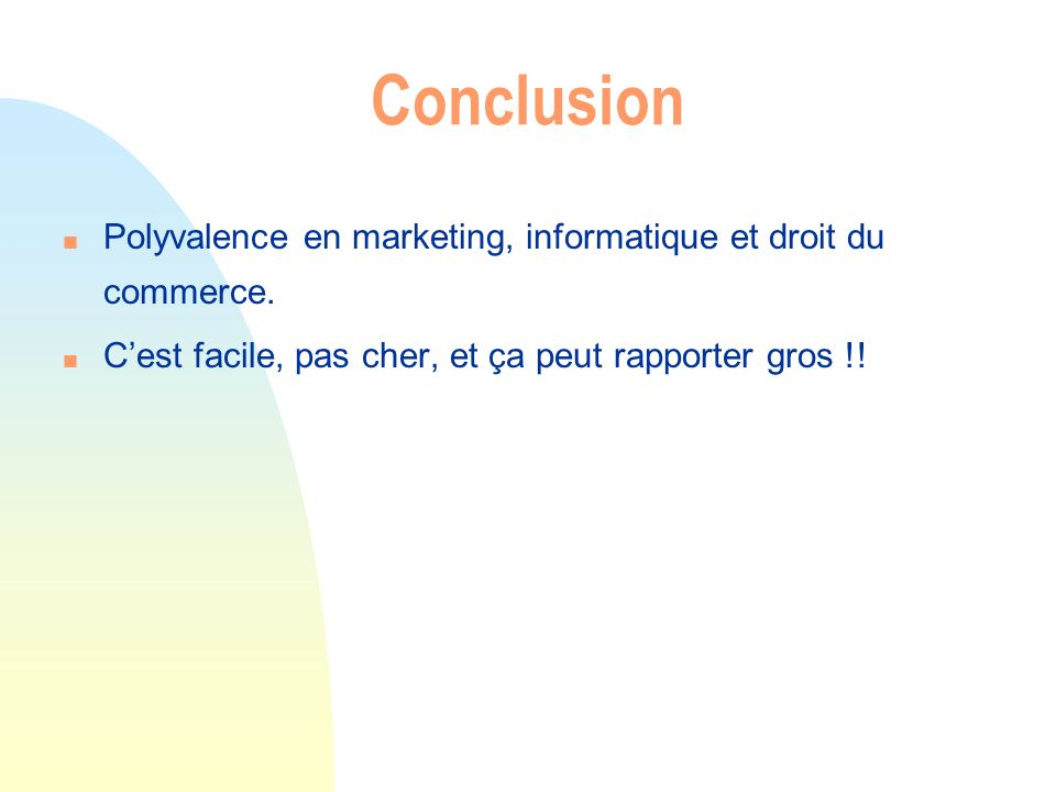 Conclusion Polyvalence en marketing, informatique et droit du commerce.