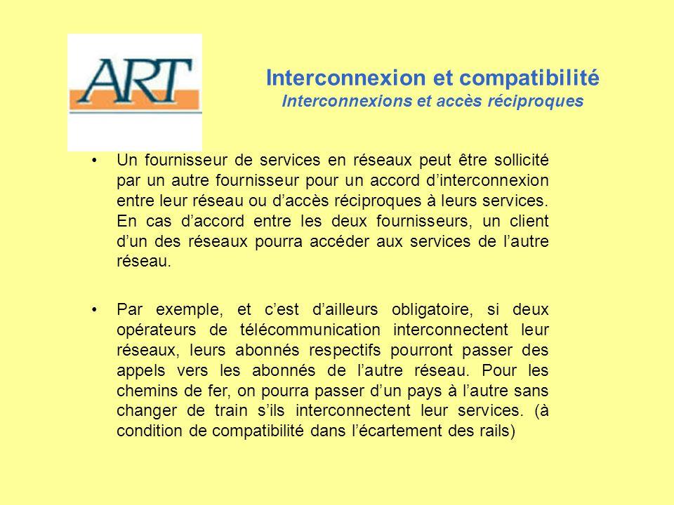 Interconnexion et compatibilité Interconnexions et accès réciproques