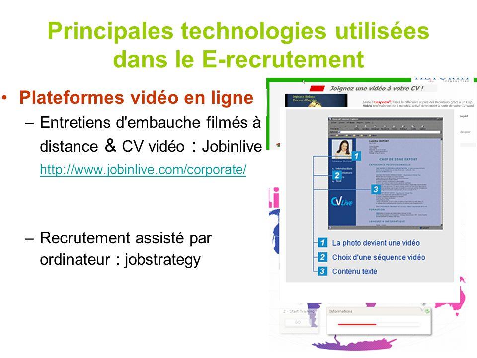 Principales technologies utilisées dans le E-recrutement