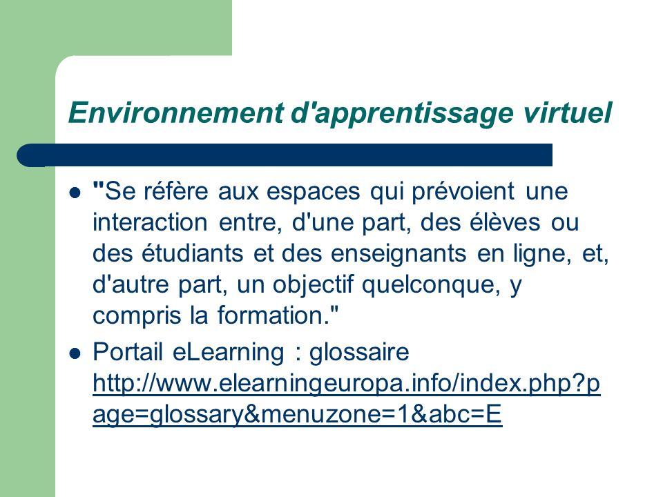 Environnement d apprentissage virtuel