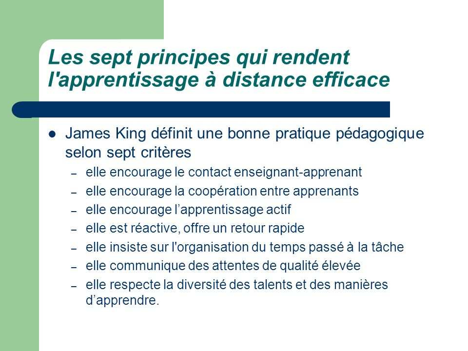 Les sept principes qui rendent l apprentissage à distance efficace