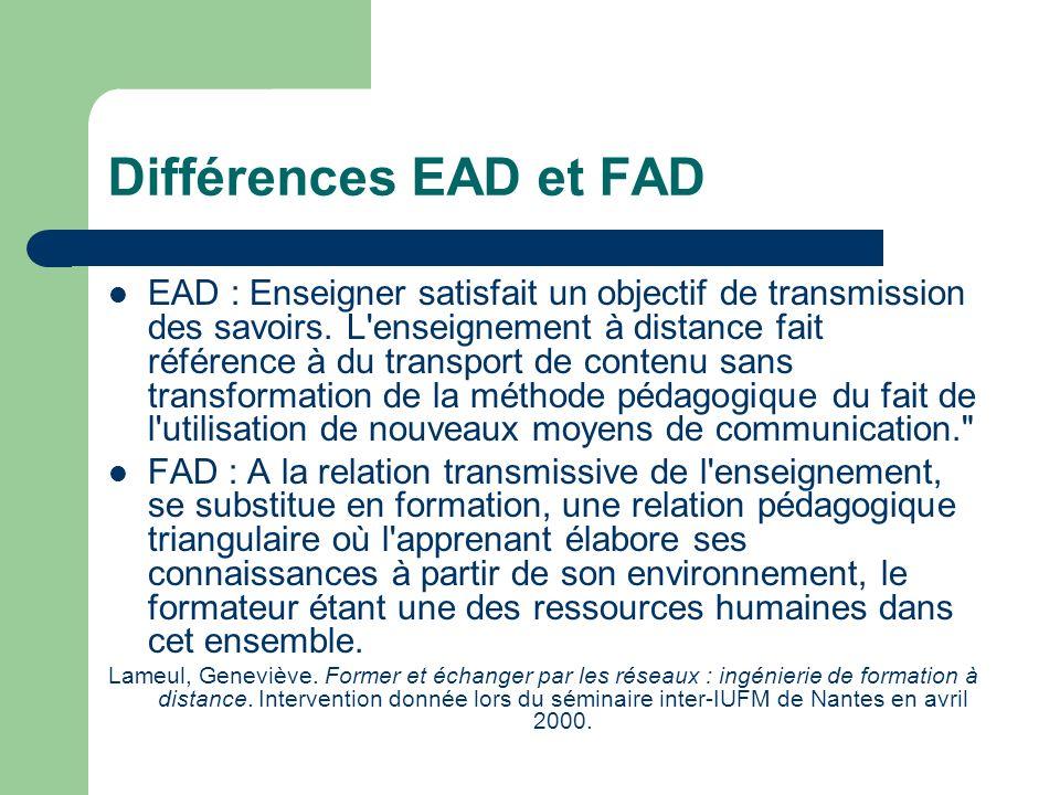 Différences EAD et FAD