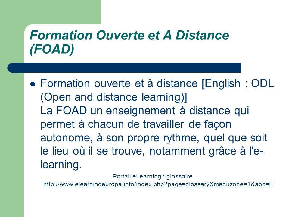 Formation Ouverte et A Distance (FOAD)