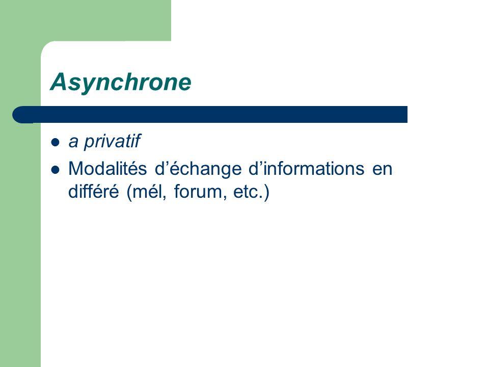 Asynchrone a privatif Modalités d'échange d'informations en différé (mél, forum, etc.)