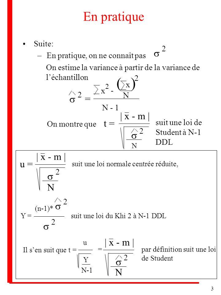 ( ) En pratique s s = | x - m | t = s | x - m | u = s N s s | x - m |