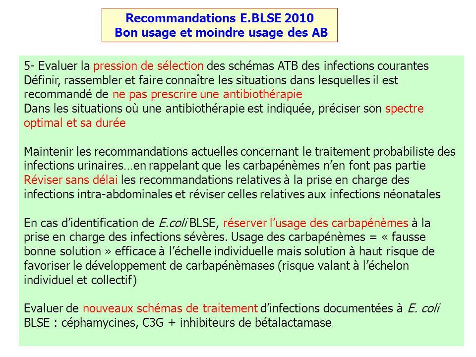 Recommandations E.BLSE 2010 Bon usage et moindre usage des AB