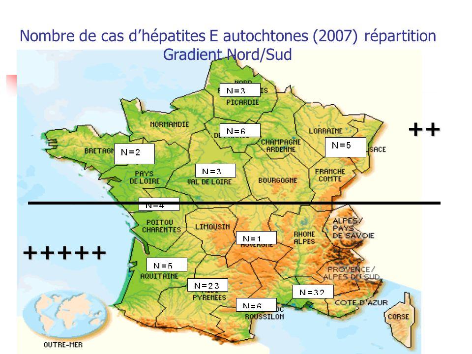 Nombre de cas d'hépatites E autochtones (2007) répartition
