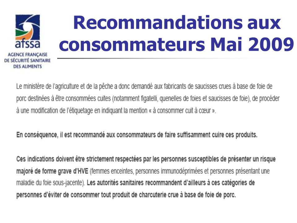 Recommandations aux consommateurs Mai 2009