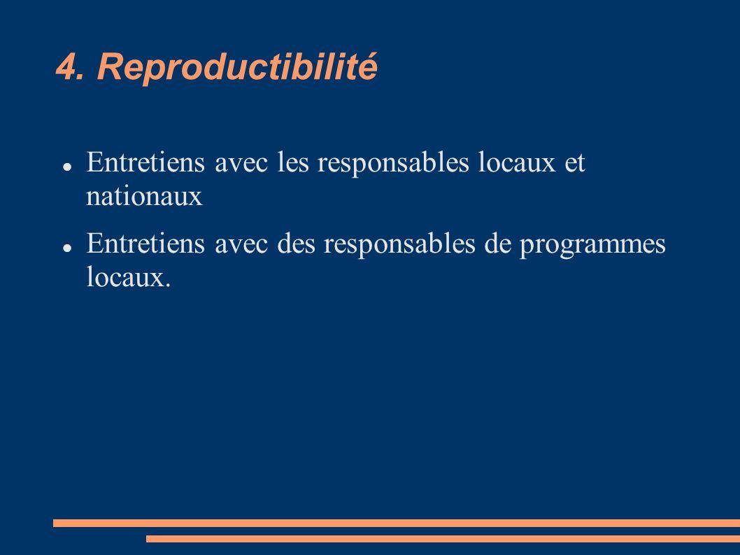 4. Reproductibilité Entretiens avec les responsables locaux et nationaux.