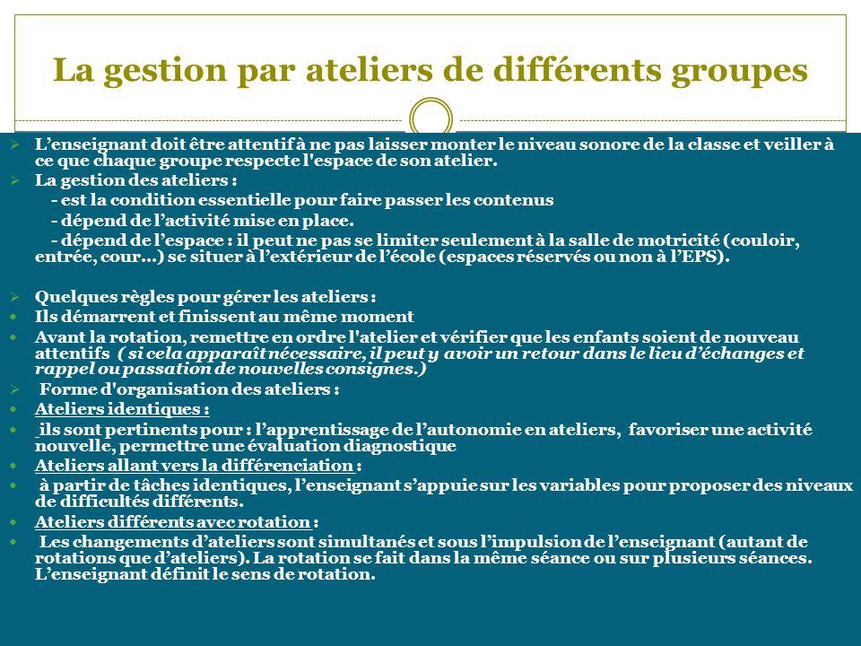 La gestion par ateliers de différents groupes